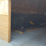 Rotating Composter in Shed